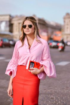 bell sleeves, pencil skirt, lady in red, street style