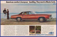 Vintage 1972 '73 Chevrolet MONTE CARLO S Coupe Automobile Car Print Ad 1970's #ChevroletMonteCarlo