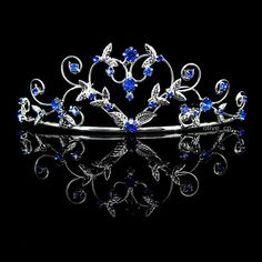 4cm High Heart Sapphire Blue Wedding Bridal Bridesmaid Prom Party Crystal Tiara | eBay