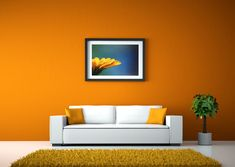 Orange walls red sofa and white vase Living Room Orange, Living Room Modern, Living Room Sofa, Living Room Decor, Orange Walls, Red Walls, Living Room Pictures, Wall Pictures, Red Sofa