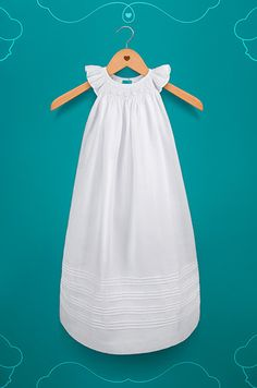 Long White Cottton Christening Gown with bonnet