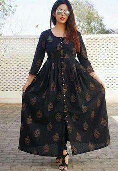 Black Block Print Maxine Ml Printed Kurti Designs, Simple Kurti Designs, Kurta Designs Women, Long Dress Design, Stylish Dress Designs, Stylish Dresses, Stylish Kurtis Design, Frock Fashion, Indian Fashion Dresses