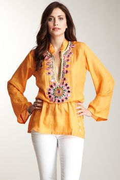 Embellished silk tunic by Monique Leshman