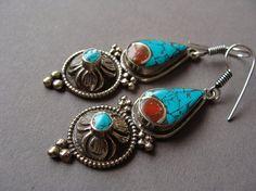 Nepali flower earrings, turquoise carnelian ethnic earrings,Bohemian jewelry,Afghan earrings, Vintage earrings, Gypsy Ethnic jewelry