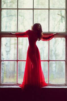 Beautiful loose, long, and flowy red dress!