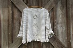 linen blouse top flare design in natural white stripe with roses ready to ship