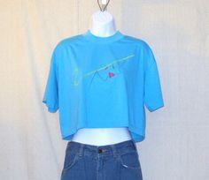 Vintage 80s FEMININE FASHION GRAPHIC Half Shirt Cropped Belly Shoulder Pads Stylish Cute Soft Summer 1/2 T-Shirt