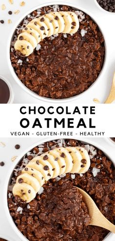 Chocolate oatmeal is a quick and easy breakfast recipe that tastes like dessert! It's vegan, gluten-free, dairy-free, and made in 10 minutes or less. These chocolate oats are made with pantry staples like rolled oats, cocoa powder, and almond milk. Satisfy your chocolate cravings and enjoy dessert for breakfast with this guilt-free, healthy treat! #oatmeal #oats #vegan #chocolate #breakfast #healthybreakfast #veganbreakfast #cocoa #cacao #glutenfree Dairy Free Recipes, Whole Food Recipes, Vegan Recipes, Dessert Recipes, Gluten Free, Brunch Recipes, Yummy Recipes, Recipies, Desserts