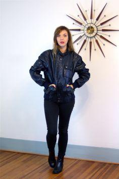 Navy Blue Cafe Racer Jacket/ Leather Motorcycle Jacket STEINMARK/ High Button Collar/ Racing Biker Coat/ Men Women Biking Jacket/ 80s Bomber by PosiesForLuluVintage on Etsy