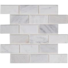 MSI Arabescato Carrara 12 in. x 12 in. x Honed Marble Mesh-Mounted Mosaic Tile sq. / - The Home Depot Mosaic Wall Tiles, Marble Mosaic, Mosaic Glass, Shower Backsplash, Kitchen Backsplash, Honed Marble, Marble Floor, Thing 1, Indoor Air Quality
