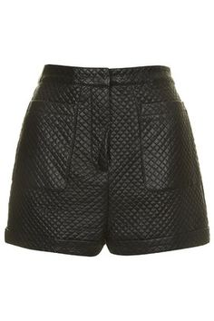 PU Quilted Stitch Shorts