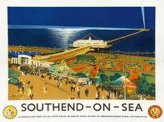 TRAVEL TOURISM TRANSPORT RAIL SOUTHEND PIER BEACH FAIRGROUND UK POSTER LV4289   eBay