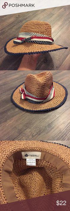 Cappelli Straw Sun Hat EUC  Brown straw hat  American flag ribbon  Blue trimming on rim Capelli Accessories Hats