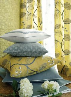 My favorite fabric leaves! Aqua & yellow Anna French_The Aria Collection_By Thibaut Office Wallpaper, Bold Wallpaper, Grey Yellow, Mellow Yellow, Gray, Anna French, Style Japonais, French Fabric, Home Workshop