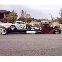 Cool rod on a mad rig. Custom truck and hot rod. Rat Rod Trucks, Rat Rod Cars, Tow Truck, Cool Trucks, Big Trucks, Pickup Trucks, Bagged Trucks, Lowrider Trucks, Dodge Trucks