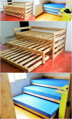 Wouldn't these triple bunk beds be great for the grandsons? Modish Wood Pallet Projects for Your House Bunk Bed Diy, Bunk Beds With Stairs, Cool Bunk Beds, Kids Bunk Beds, Pallet Bunk Beds, Bed Rails, Tripple Bunk Bed, Triple Bunk, Diy Pallet Furniture