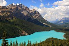 Peyto Lake Lac isolé du parc national de Banff au Canada, il est situé à 1880 mètres d'altitude. L'été, la fonte des glaciers et son corollaire, l'apport significatif de particules minérales en suspension, donnent aux eaux du lac cette lumineuse et fascinante couleur turquoise.