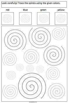 СПИРАЛИ ДЛЯ ВНИМАНИЯ Задание на развитие внимательности - раскрасить спирали в разные цвета в зависимости от того, как они расположены, в какую сторону обращены их хвостики. На первых двух штриховках нужно самому выбрать по два разных цвета, а вот на последнем задании нужно быть очень внимательным - там четыре заданных цвета и, соответственно, четыре варианта спиральных завитков.
