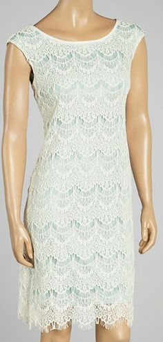 Ivory & Aqua Scallop Lace Sheath Dress