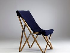 From Korea-based A. Mind, a collection of handmade wooden furniture includes a clevercampchair that folds flat for storage or transport:    Above: With a cotton cover available in three colors including navyas shown, a Tripolina Butterfly Chair