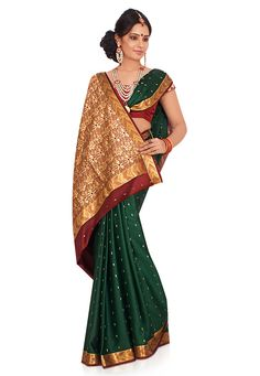 Bottle Green Pure Mysore Silk Saree with Blouse Online Shopping: SCX10B