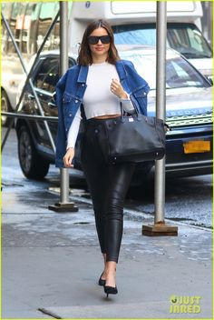 Miranda Kerr Rocks Leather Pants As She Leaves NYC in a Helicopter