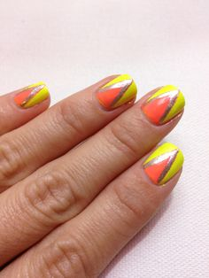 Neon Art Deco nail design!  Illamasqua in rare, with priti NYC in hardy Waterlilly and red maple