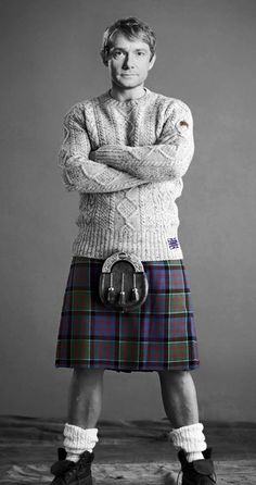 Okay, so this is obviously photoshop, but he's wearing the Watson tartan. I'd pay good money to see Martin wearing a kilt in real life.