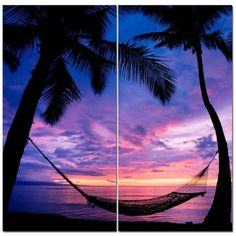 Pink Paradise Sunset w/ Hammock & Ocean View 12 x 24 2 Piece Canvas... ($65) ❤ liked on Polyvore featuring home, home decor, wall art, pink panel, 2 piece wall art, ocean wall art, pink flamingo home decor and ocean canvas wall art
