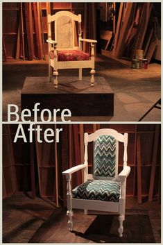 Before: Worn Out Cane-Back Chair After: Trendy Reupholstered Chevron Chair