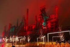Bethlehem Steel dormant blast furnaces, illuminated for the holidays, in a mist and fog!