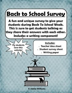 Here's a fun and FREE student survey to give students during Back To School Week!  This isn't a list of questions that students expect, but rather a list of questions to get to know your students' personalities!   # Pinterest++ for iPad #
