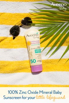 NEW AVEENO® Baby Continuous Protection SPF 50 has 100% naturally sourced zinc oxide, a highly recommended mineral sun protection ingredient. Free of fragrances, parabens, phthalates and dyes.