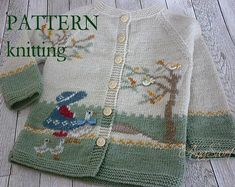 Knitting pattern Baby cardigan -Girl with geese Embroidery Stem Stitch, Embroidery Patterns Free, Baby Knitting Patterns, Baby Patterns, Free Knitting, Cardigan Bebe, Knit Cardigan Pattern, Knitted Baby Cardigan, Baby Pullover