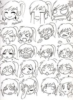 Draw Lesson: Draw you own Kawaii Chibi Manga Cartoon or Motion Draw.Here is How to draw Chibi Face Expressions. Chibi Mikuro Expressions by Mimi D Drawing Tips, Drawing Techniques, Drawing Sketches, Chibi Drawing, Drawing Faces, Drawing Drawing, Anime Drawing Tutorials, Anime Face Drawing, Comic Drawing