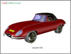 Vehicle: Jaguar E Type Autocad, 3d Cad Models, Cad Blocks, Jaguar E Type, Transportation, Vehicles, Car, Automobile, Autos