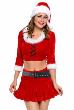 four pieces three quarter sleeves crop top sexy skirt xmas costume set