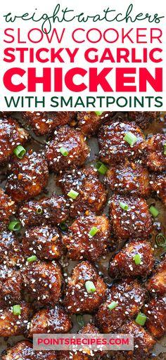Slow Cooker Sticky Garlic Chicken (Weight Watchers SmartPoints)