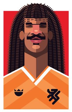 Ruud Gullit, Netherlands | Football Players Vector Illustrations by Daniel Nyari.