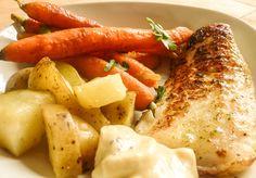 Witte vis met geroosterde aardappelen en balsamico wortelen