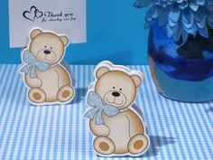 Cute And Cuddly Blue Teddy Place Card Holder