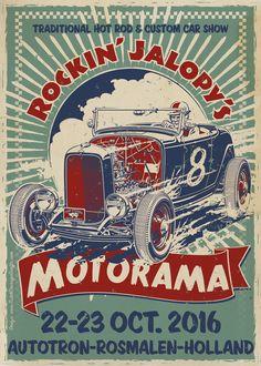 """Rockin' Jalopy's Motorama 2016"" hot rod and custom car show flyer #1932 #Ford #deuce #roadster #Flying #Dutchmen #event #flyer #art"