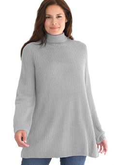 Sweater, Pullover Swing Style, In Shaker Stitch With Mock Turtleneck at Amazon Women's Clothing store: Plus Size Winter Coats