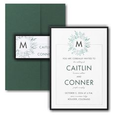 Greenery Initial Layered Pocket Wedding Invitation Icon Online Fonts, Pocket Wedding Invitations, Matching Cards, Lettering Styles, Foil Stamping, Response Cards, Monogram Initials, White Ink, White Envelopes