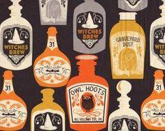 Patchworkstoff SPOOKTACULAR, alte Flaschen mit Zaubertrunk, gedecktes orange-schwarz-grau