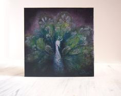 Purple Plumage  Original Abstract Textured Painting by ChingTeoh, $100.00