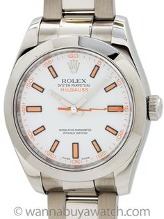 """Rolex Milgauss ref 116400 White Dial circa 2008 with Card - <p class=""""p1"""">Rolex Stainless Steel Milgauss ref 116400 M serial# circa 2008. A future classic model, and tribute to the 1950's version, featuring 40mm diameter case with smooth bezel and sapphire crystal. Porcelain white dial with applied stainless steel hands and orange details. Powered by caliber 3131 movement with orange lighting boltsweep second hand which pays homage to the 1950's original. With Rolex stainless steel heavy…"""