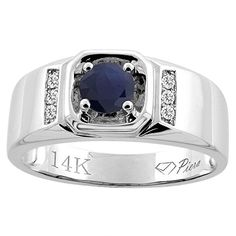 14K White Gold Natural HQ Blue Sapphire Men's Ring Diamond Accented 5/16 inch wide, sizes 9 - 14