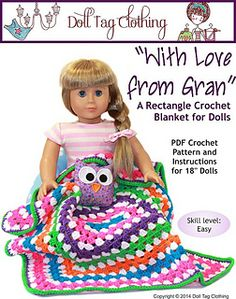 Adorable crochet blanket for your 18 inch dolls -  FREE