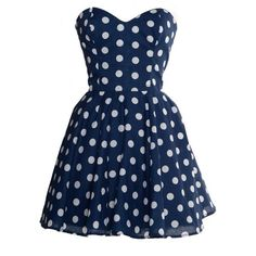 Pin-Up Blue Polka Dot Prom Party Dress ($7.99) ❤ liked on Polyvore